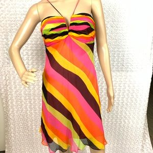 Cache Striped Spaghetti Strap Flair Dress